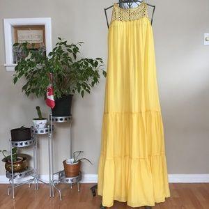 Elie Tahari yellow cotton silk blend maxi dress